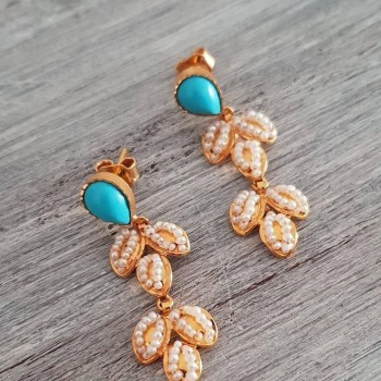Pearl & Turquoise Dangling Earrings