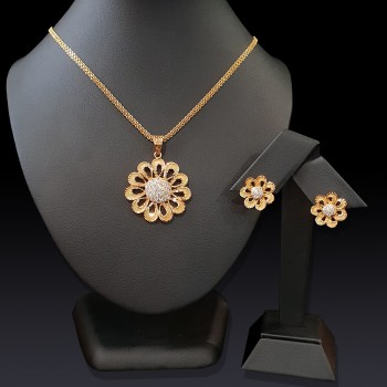 Gold Floral Pendant Set