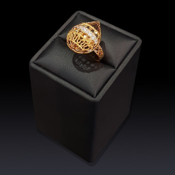 Gold Mesh Drop Ring